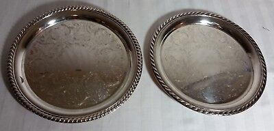 """Two Silver Plated Trays 10-1/4"""" round William Rogers International Silver Co."""
