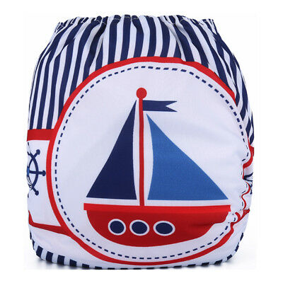 Reusable Modern Cloth Nappy + Microfibre insert baby & toddler Sail Boat Stripes