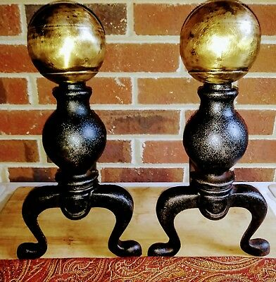 2 VINTAGE CAST IRON & BRASS CANNONBALL FIREPLACE ANDIRONS  WITH Firedogs-marked