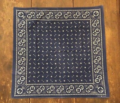 """Vintage Fast Color TRUNK DOWN Extra Large Blue & White circles Bandana 25 X 25"""""""