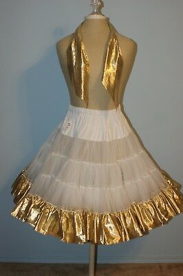 Square Dance Petticoat - White with Gold Lame' Trim and Man's Tie