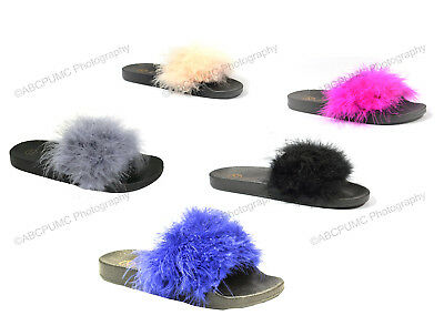 Women's Flip Flops Marabou Fur Fuzzy Slip on Sandals Slide Slippers Flats Shoes