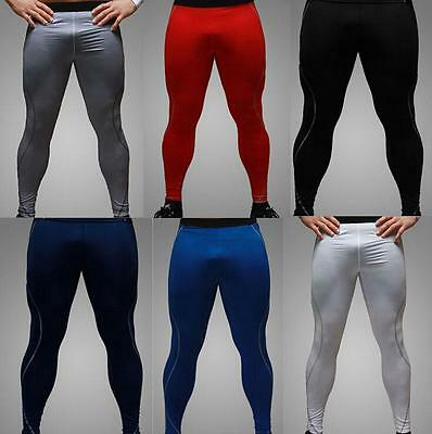 Hot Mens Tight Base Layer Pants Long Leggings GYM Compression Under Trousers SZ@