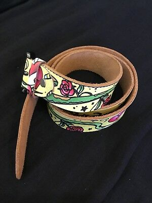 "ED HARDY - Belt - Unisex - Leather Metal Buckle 45"" / 114 cm M Yellow Genuine"