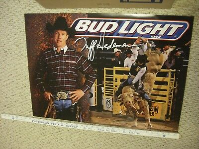 """25 1998 Nos Budweiser Budlight Beer Tuff Hedeman Rodeo Bull Rider Poster 28""""x20"""""""
