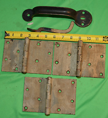 """Antique / Vintage Stanley SW Barn Hinges & Thumb Latch Large 6"""" x 4"""" Matched"""