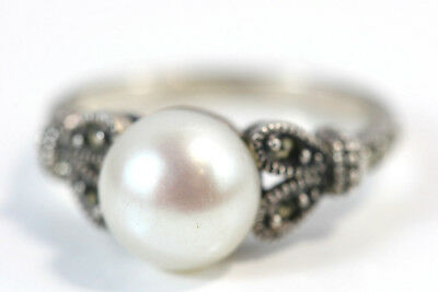 D326 Marcasite 9mm Pearl Sterling 3.5g 925 Ring size 7 1/4
