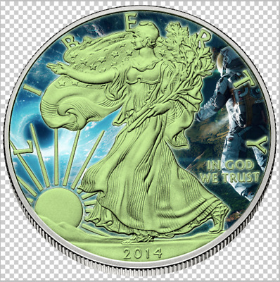2014 1 oz Glow American Eagle Silver Astonaught (glow in dark)