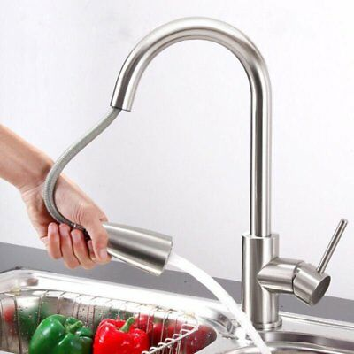 Nickel Brushed Kitchen Sink Faucet with Pull Out Down Sprayer Single Handle MX