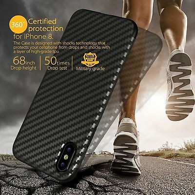 Ultra Slim Carbon Fiber Texture TPU Rubber Case Cover For iPhone XS Max 8 7 Plus