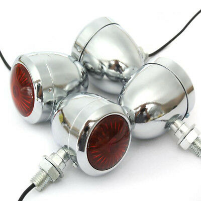 4 x Metal Chrome Motorcycle Turn Signal Indicator Light For Harley Chopper Cafe