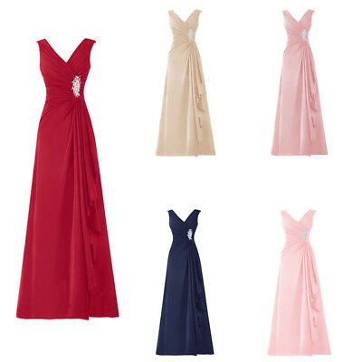 Long Chiffon V Neck Sleeveless Gown Pleated Ruffles Mother of the Bride Dress