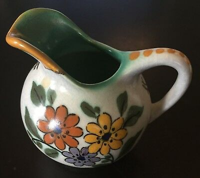 Vintage Royal Zuid Miniature Gouda Pitcher w Handle -Yellow/Orange/Purple Flower