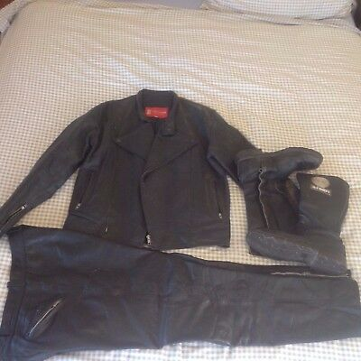 vintage motorcycle leathers and boots