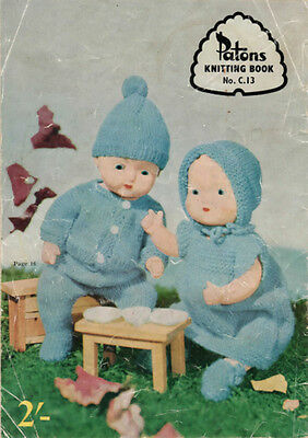"""VINTAGE KNITTING PATTERN COPY - TO KNIT 11"""" DOLL'S CLOTHES -1960's"""