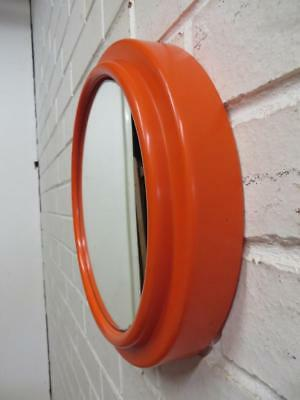 VINTAGE RETRO 70's Funky PLASTIC VIBRANT ORANGE WALL MIRROR