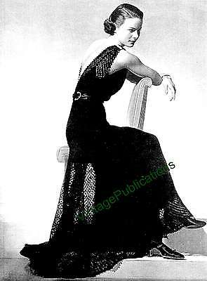 1930s Knitted Dress Pattern .. Wedding Dress .. Evening Gown .. Laminated COPY