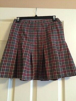 Girls Uniform Skirt Gray Burgundy Plaid Pleated GUC 27 Inch Waist 160906L