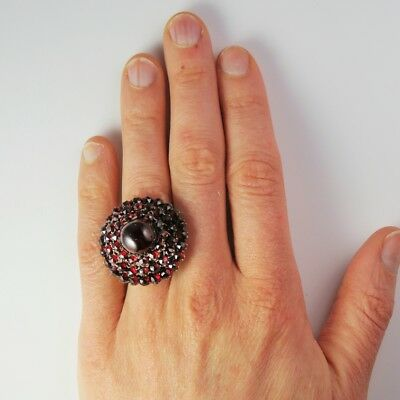 Bohemian Garnet Large Victorian 8K Gold Ring Pyrope Fiery Antique Rose Cut