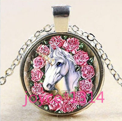 Stunning unicorn MAGICAL HORSE WITH FLOWERS ROSES PINK Necklace Glass PENDANT