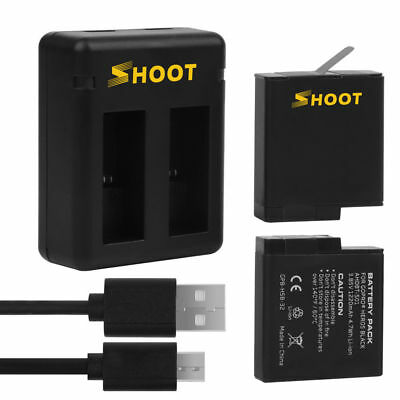 2-Pack Batteries and Dual Charger for GoPro HERO 6 HERO 5 Black