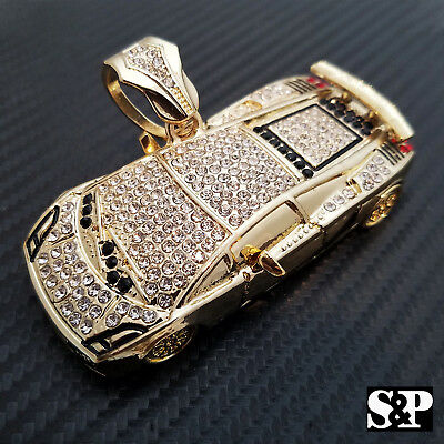Hip Hop Full Iced Out Lab Diamond Gold Plated Bling Large Super Car Pendant