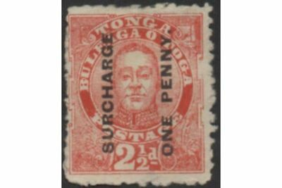 Tonga 1895 SG30 1d on 2½d King George II MH