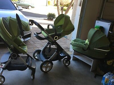 Stroller single and double,Stokke, Package with accessories.light green.