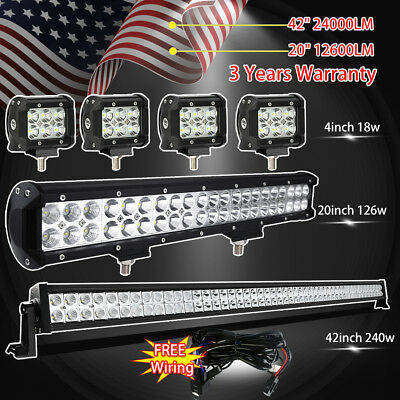"30Inch LED Light Bar Combo+22in+4"" CREE PODS OFFROAD SUV 4WD ATV FOG JEEP+Wiring"