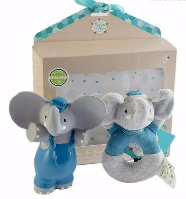 New Bonikka Alvin the Elephant Squeaker & Rattle Baby Teether Toy Gift Set 0m+