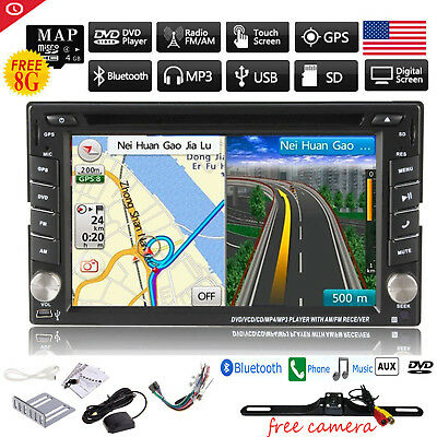 GPS Navigation 2Din HD Car Stereo DVD CD Player Bluetooth Auto Radio iPod+Camera