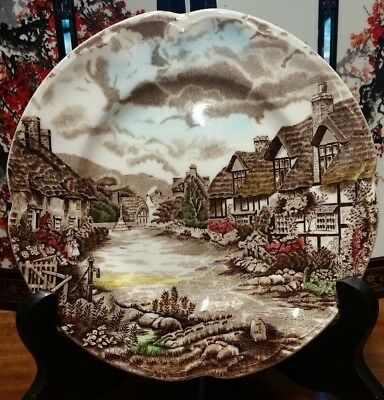 "VINTAGE JOHNSON BROS. HAND ENGRAVING ""OLDE ENGLISH COUNTRYSIDE"" SAUCER, 14.5cm"