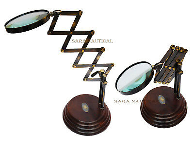 Nautical Style Desk Top Channer Magnifier Brass Magnifying Glass on Wooden Stand