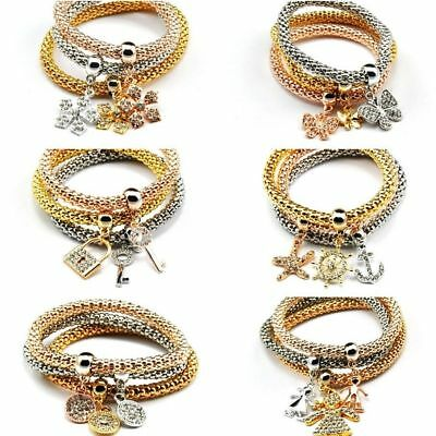 Women 3Pcs Gold Silver Rose Gold Bracelets Rhinestone Multilayer Bangle Jewelry