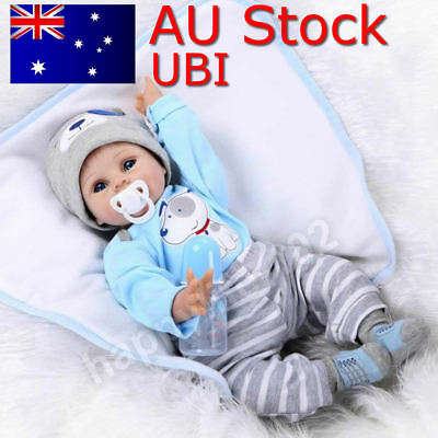 AU! infant Toddler infant Dolls Handmade Lifelike Silicone Vinyl Baby Boy 22""