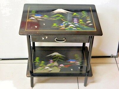 RARE 60's SHOW PIECE MUSICAL TABLE BLACK LACQUERED H/ PAINTED M/ FUJI + 2 SHELVE