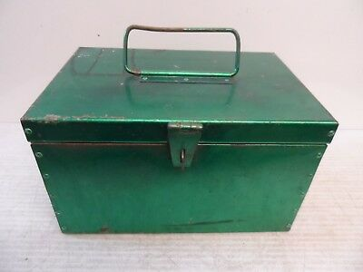 Vintage Green Lockable Metal Storage Box Deed Box Cash Box / Safe Security Box