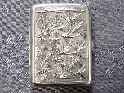 Solid Silver Chinese Export Silver Cigaret Case China Xix°