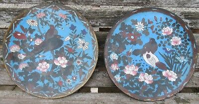 Pair Meiji Period Antique Japanese Cloisonne Plates Dish Charger 12 Inches Cheap