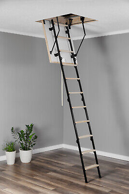 4 SECTION WOOD TIMBER METAL FOLDING LOFT LADDER & HATCH 60CM X 80CM Attic Stairs