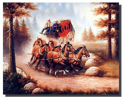 Western Cowboy With Old Red Stagecoach and Running Horses Art Print Poster 16x20