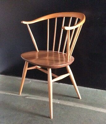 A Stunning 1960s 'Blue Label' Blonde Ercol Cow Horn Chair. British Mid Century.