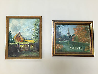 Lot Of Two Framed Countryside And Cottage Landscapes In Acrylic - Vr