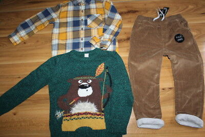 NEXT TU Dunnes boys jumper shirt lined cord bundle 3-4 years *I'll combine posta