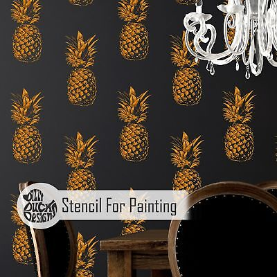 PINEAPPLE ALLOVER Tropical Fruit Stencil - Wall Stencil for Painting