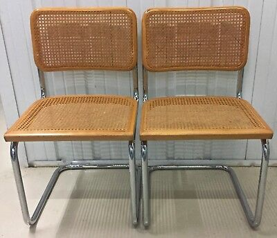 """2 Vintage Breuer Style """"cesca"""" Caned Wood & Chrome Chairs"""