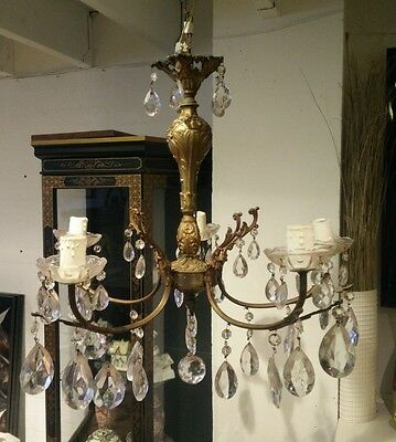 Beautiful Ornate Brass 5 Arm Antique French Empire Glass Chandelier - Vr