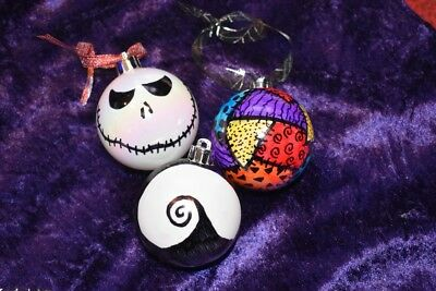 Set of 3 Nightmare before Christmas inspired hand decorated Christmas baubles