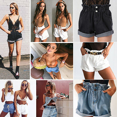 Womens Vintage Shorts Ladies High Waisted Stonewash Denim Jeans Beach Hot Pants