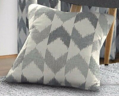 *FILLED* Silver Chenille Luxury Cushion Covers,Insignia Chevron Design,2 Sizes,